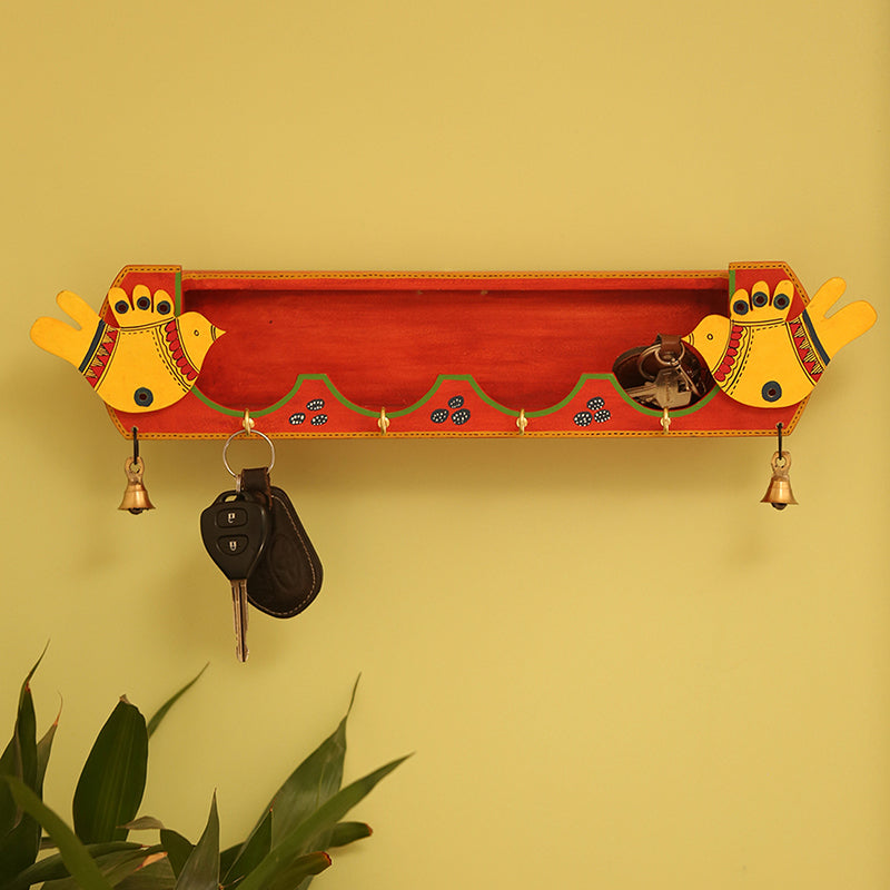'Chirping Birds' Key Holder With Shelf Handmade In Wood