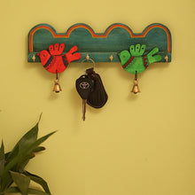 Load image into Gallery viewer, Teal Blue 'Chirping Birds' Key Holder Handmade In Wood