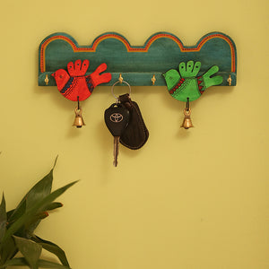 Teal Blue 'Chirping Birds' Key Holder Handmade In Wood