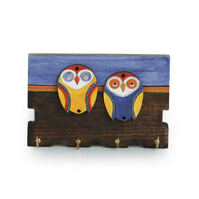 Load image into Gallery viewer, 'Twin Owl Motifs' Wooden Key Holder (4 Hooks)