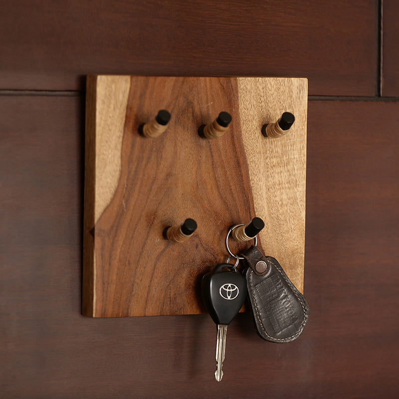 Cane Handwoven Key Holder In Sheesham Wood & Iron (5 Hooks)