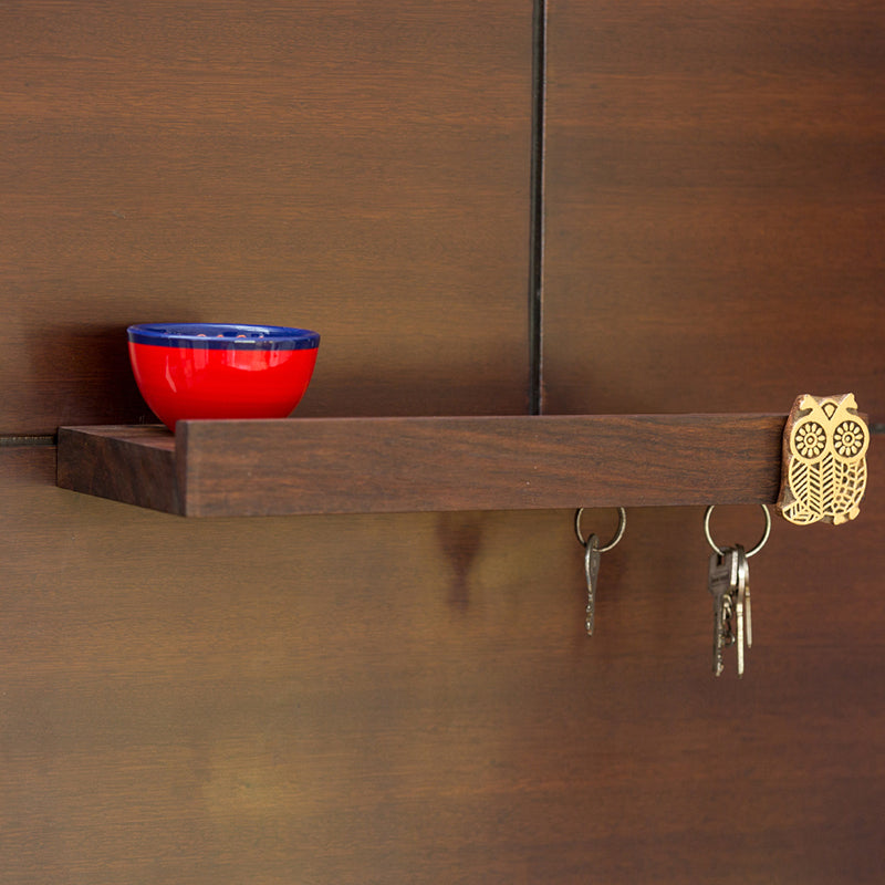 'The Sapient Owl' Magnetic Key Holder With Shelf Handmade In Sheesham Wood