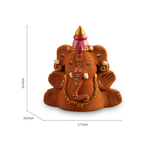 Terracotta Handpainted Sitting Ganesha With Elephant Like Ears