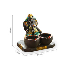 Load image into Gallery viewer, Terracotta Handpainted Ganesha With Twin Diyas