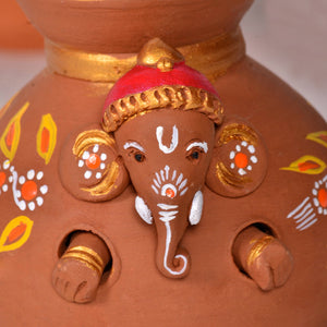 Terracotta Handpainted Baby Ganesha Coming Out From The Matki