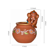 Load image into Gallery viewer, Terracotta Handpainted Baby Ganesha Crawling On The Matki