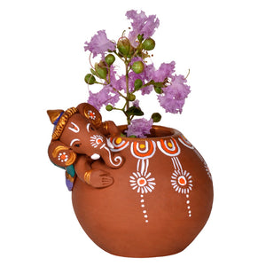 Terracotta Handpainted Baby Ganesha Rolling On The Matki