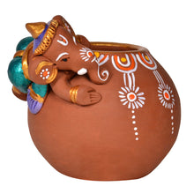 Load image into Gallery viewer, Terracotta Handpainted Baby Ganesha Rolling On The Matki