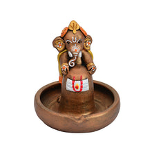 Load image into Gallery viewer, Terracotta Handpainted Copper Finish Baby Ganesha Holding Lord Shiva In Pound