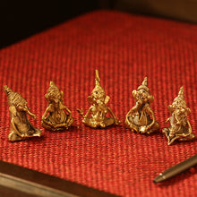 Load image into Gallery viewer, 'Golden Ganeshas' Handmade Brass Miniatures In Dhokra Art (Set Of 5)