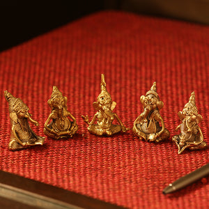 'Golden Ganeshas' Handmade Brass Miniatures In Dhokra Art (Set Of 5)