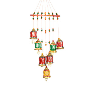 Terracotta Handpainted Bell Hanging Multicolour