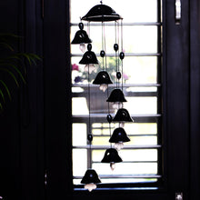Load image into Gallery viewer, Melodious Sound Ceramic Wind Chimes Set Of 8 In Black