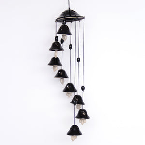 Melodious Sound Ceramic Wind Chimes Set Of 8 In Black