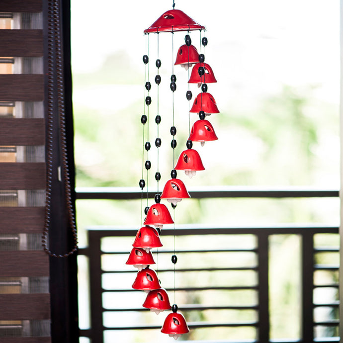 Melodious Sound Ceramic Wind Chimes Set Of 12 In Red