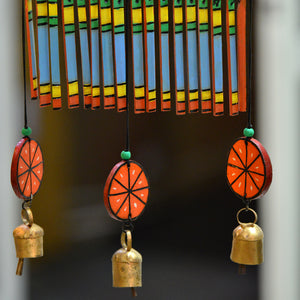 Wooden Multicolured Handpainted Hanging Chime With bell