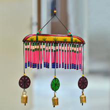 Load image into Gallery viewer, Wooden Multicolured Handpainted Hanging Chime With Bell