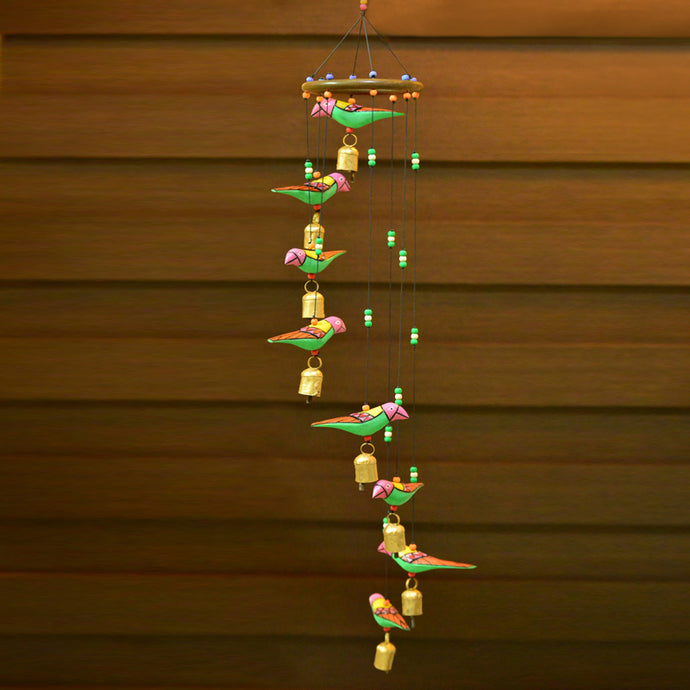 Handmade Wooden Birds Wind Chime Cum Decorative Hanging