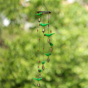 Handmade Wooden Parrots Wind Chime Cum Decorative Hanging