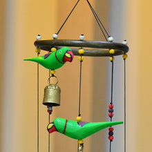 Load image into Gallery viewer, Handmade Wooden Parrots Wind Chime Cum Decorative Hanging