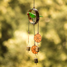 "Load image into Gallery viewer, Parrot Collection"" Wooden Hand Painted Hanging Chime With Bell"