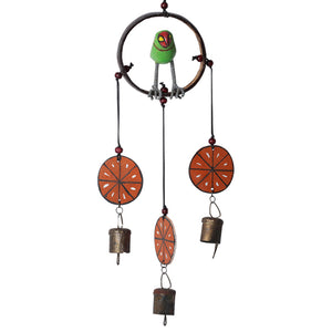 "Parrot Collection"" Wooden Hand Painted Hanging Chime With Bell"