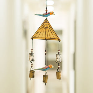 Wooden Handmade & Hand-Painted Bird Wind Chime With Kutchh Bells