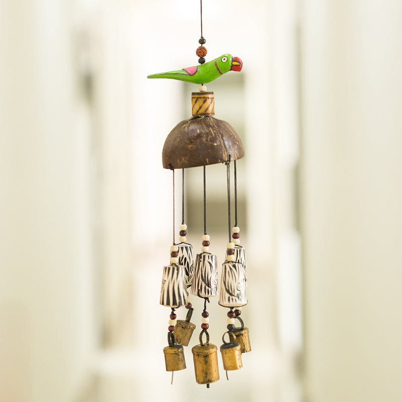 Wooden Handmade & Hand-Painted Parrot Wind Chime With Kutchh Bells