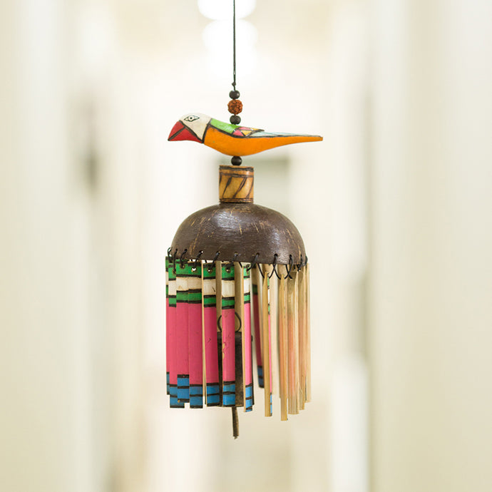 Multicoloured Wooden Handmade & Hand-Painted Bird Wind Chime With Kutchh Bell