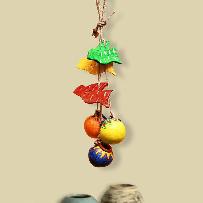 'Birds & Matkis' Hand-Painted Decorative Hanging In Wood & Terracotta