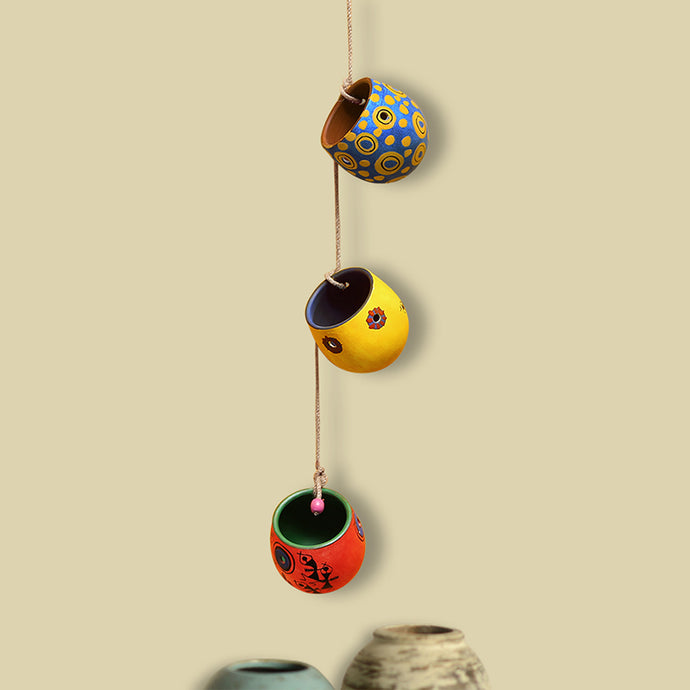 'Charm Goblets' Hand-Painted Decorative Hanging In Terracotta