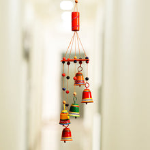 Load image into Gallery viewer, 'Breezy Chiming' Hand-Painted Decorative Hanging Bells Wind Chime In Metal