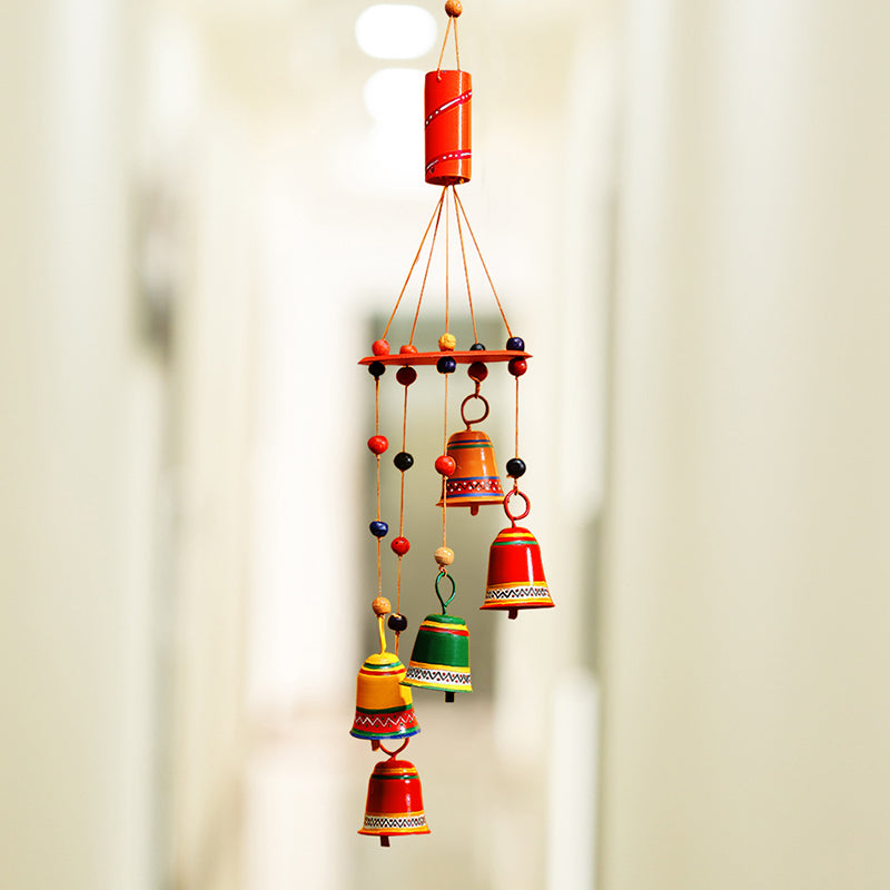 'Breezy Chiming' Hand-Painted Decorative Hanging Bells Wind Chime In Metal