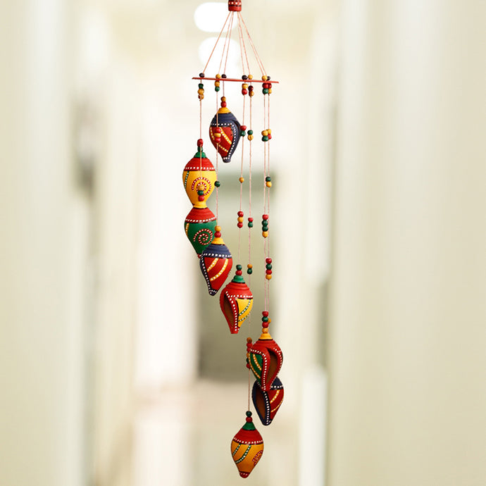 'Shankh Twirls' Hand-Painted Decorative Hanging In Terracotta