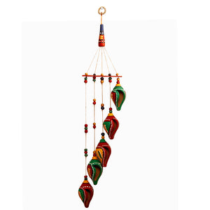 'A Shankh Bouquet' Hand-Painted Decorative Hanging In Terracotta