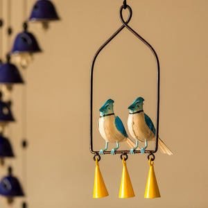 'Blue Jays In The Wind' Hand-Painted Decorative Hanging Wind Chime In Metal