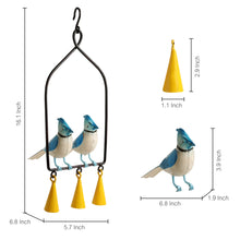 Load image into Gallery viewer, 'Blue Jays In The Wind' Hand-Painted Decorative Hanging Wind Chime In Metal