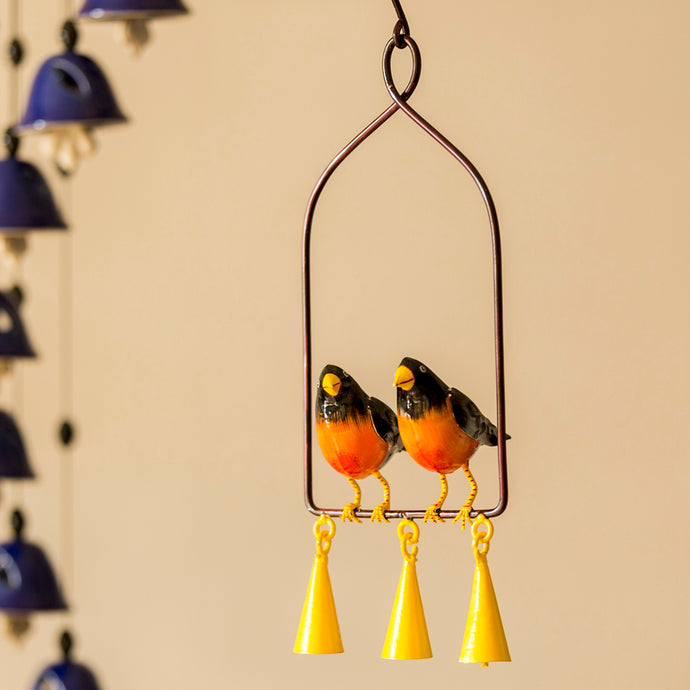 'Swaying With Robins' Hand-Painted Decorative Hanging Wind Chime In Metal