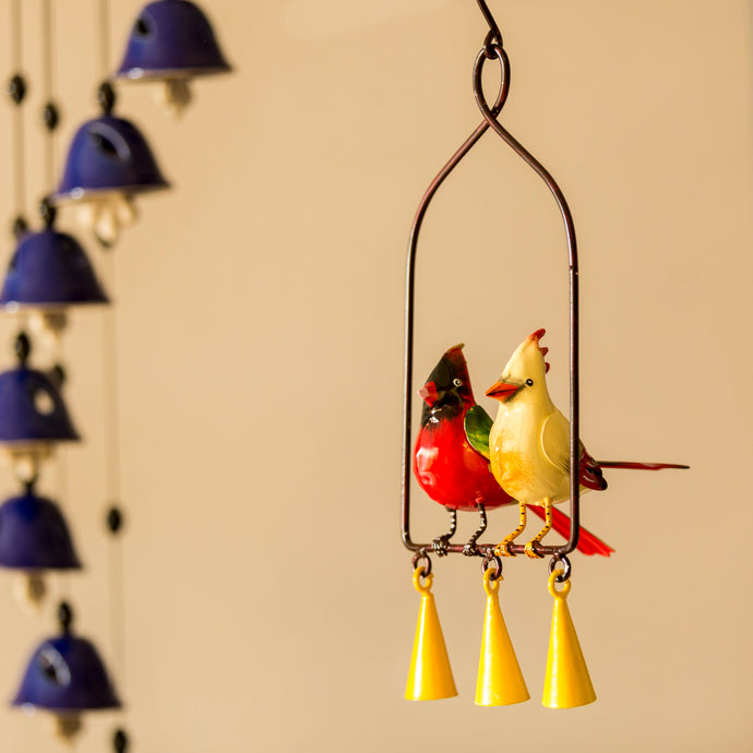 'The Cardinal Couple Karaoke' Hand-Painted Decorative Hanging Wind Chime In Metal