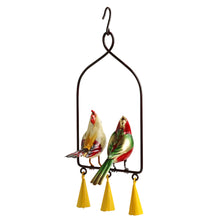 Load image into Gallery viewer, 'The Cardinal Couple Karaoke' Hand-Painted Decorative Hanging Wind Chime In Metal