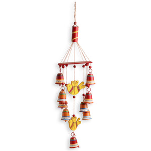 'Nature's Music' Hand-Painted Decorative Hanging Bells Wind Chime In Metal & Wood