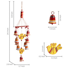 Load image into Gallery viewer, 'Nature's Music' Hand-Painted Decorative Hanging Bells Wind Chime In Metal & Wood