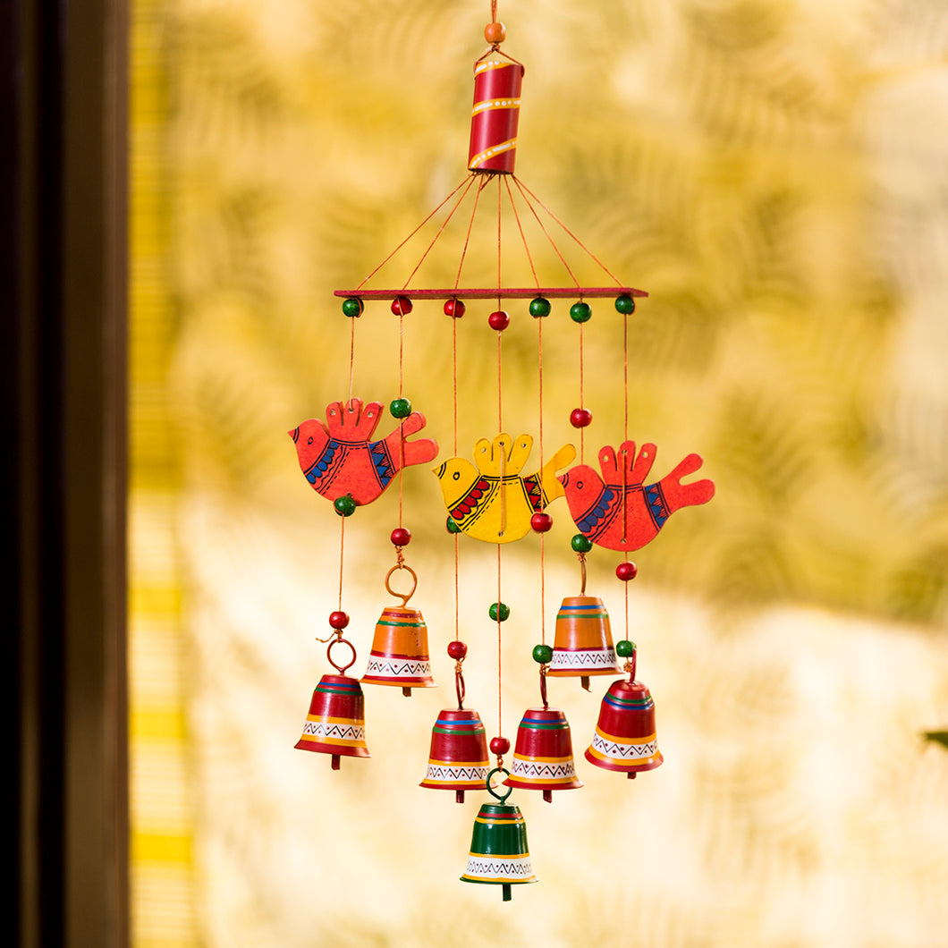 'Clinkering Songbirds' Hand-Painted Decorative Hanging Bells Wind Chime In Metal & Wood