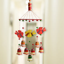 Load image into Gallery viewer, 'Clinkering Songbirds' Hand-Painted Decorative Hanging Bells Wind Chime In Metal & Wood