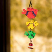 Load image into Gallery viewer, 'Feathered Friends' Hand-Painted Decorative Hanging Bell Wind Chime In Metal & Wood