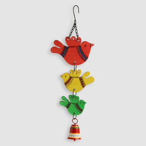 'Feathered Friends' Hand-Painted Decorative Hanging Bell Wind Chime In Metal & Wood