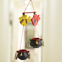 Load image into Gallery viewer, 'Nesting Pot-Faces' Hand-Painted Bird Decorative Hanging In Terracotta & Wood