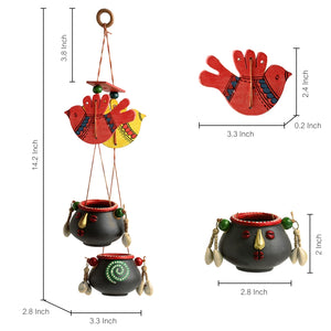 'Nesting Pot-Faces' Hand-Painted Bird Decorative Hanging In Terracotta & Wood