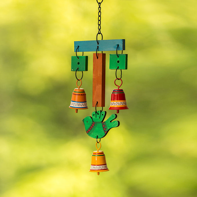 'Chirping Birds & Bells' Decorative Hanging Wind Chime Handmade In Wood & Metal