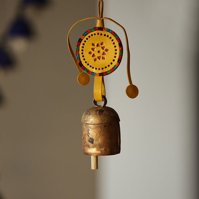 Handmade Antique Metal Bell Wind Chime With Leather Strap